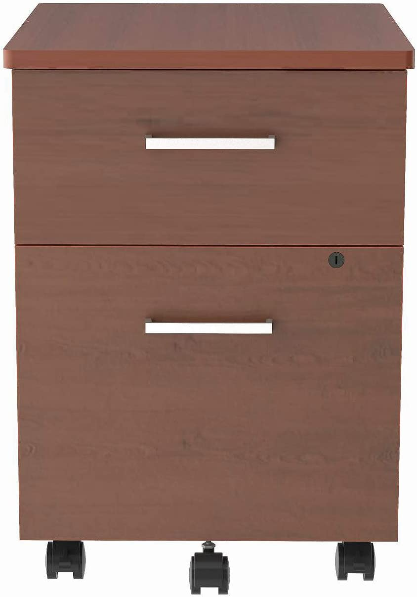 "Linea Italia - locking 2 Drawer Metal File Pedestal, Cherry, Office File Cabinet on Wheels, Under Desk 24"" High, Steel Structural Drawers"