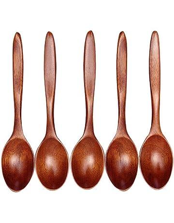 EOPER - Cuchara de sopa de madera, ecológica, para comer, mezclar, agitar