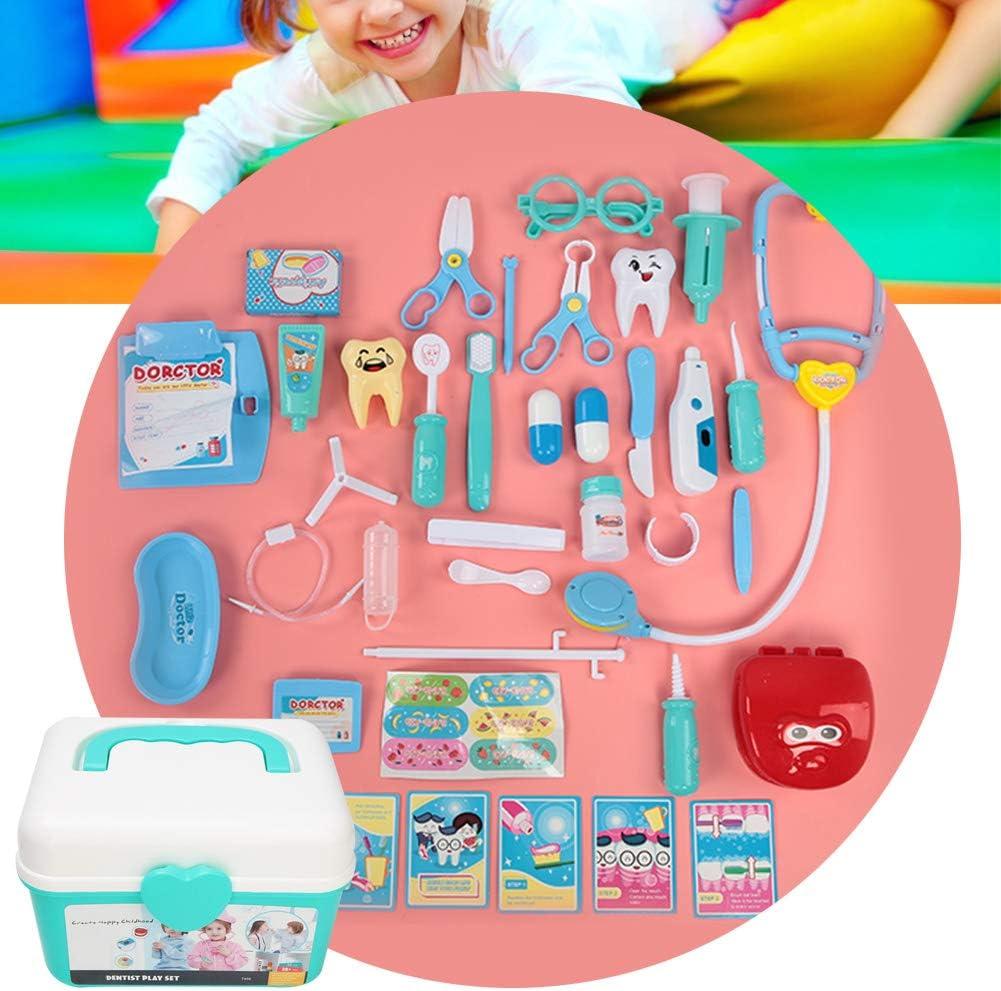 Gioco di Ruolo per Bambini Set di Valigie Set di Attrezzi per Dentista Zaino Scatola Giocattolo Educativo per Ragazzi Tnfeeon Accessorio per Dentista Portatile Pretend Play Kit