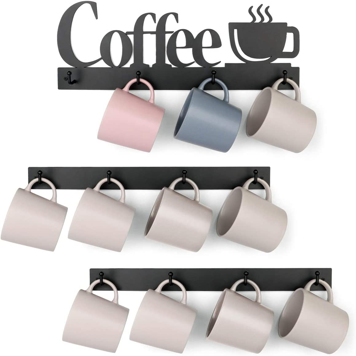 HULISEN Metal Coffee Mug Rack with 12 Hooks, Wall Mounted Coffee Cup Holder with Coffee Sign, Tea Cup Hanger for Bar Kitchen Organizer Display, Coffee Nook Decor, Black