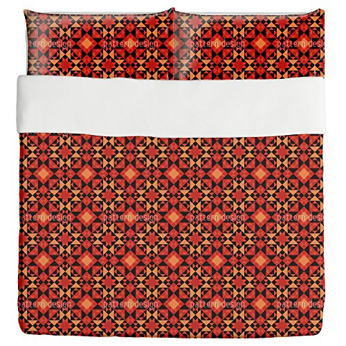 Kilim Tiles Duvet Bed Set 3 Piece Set Duvet Cover - 2 Pillow Shams - Luxury Microfiber, Soft, Breathable by uneekee