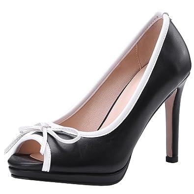 Atyche Damen Peeptoes High Heels Stiletto Pumps mit Schleife und Plateau Klassisch Arbeit Schuhe