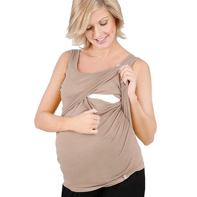 BBsmile premamá Camisetas, Mujer Sólido Embarazada Enfermería de Chaleco Bebé para la Maternidad Sin Mangas