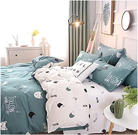 Rayhoo Bed Set Queen Sheets Set Cute Cat 3 Piece Bedding Sets One Duvet Cover No Comforter Insert Two Pillowcase Microfiber Teen Bedding For Girls Bedroom Cute Cat Green Quee 90 X90 Kitchen