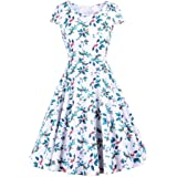 Pokkis Printed Dress Hepburn Style Retro Gathered Waist Skirt(S-2XL)