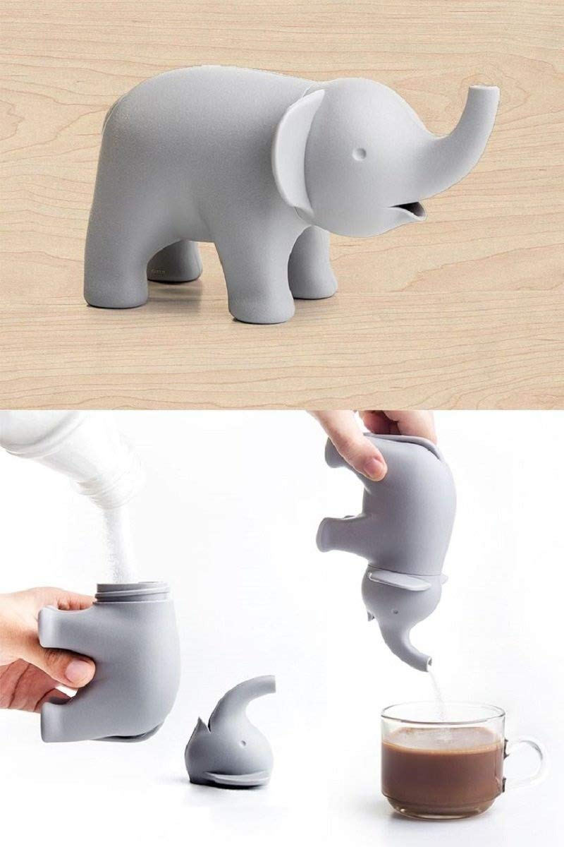Sugar Dispenser Ele Sugar Elephant Sugar Pourer by Qualy Design Studio. Grey Color. Designer and Practical Kitchen or Dining Table Accessory. Great Home Decor Present. Cool Housewarming Present Gift.
