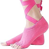 Sonolife - Calcetines Antiderrapantes para Yoga sin Puntas de los Dedos Amarre al Tobillo