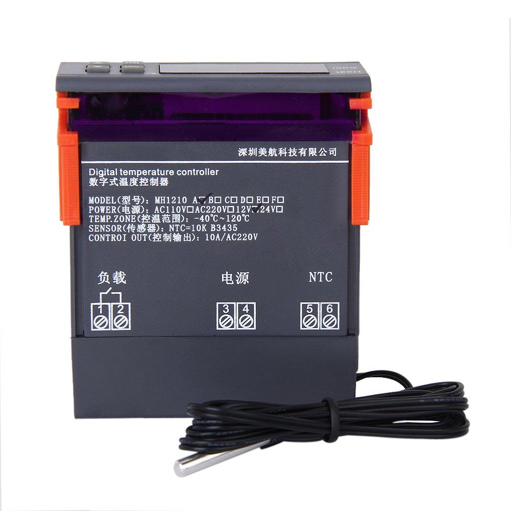 12V Digital LED Display Temperature Controller Thermostat Sensor MH1210A
