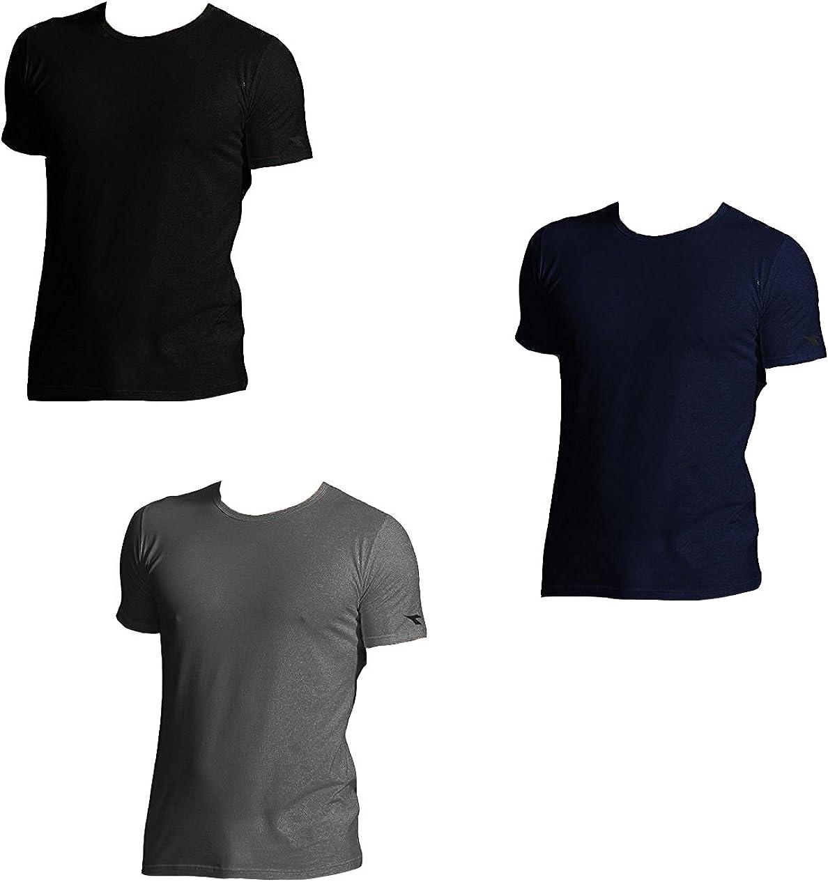 Diadora 3 t-Shirt Uomo Mezza Manica Puro Cotone Girocollo Underwear Art 6067