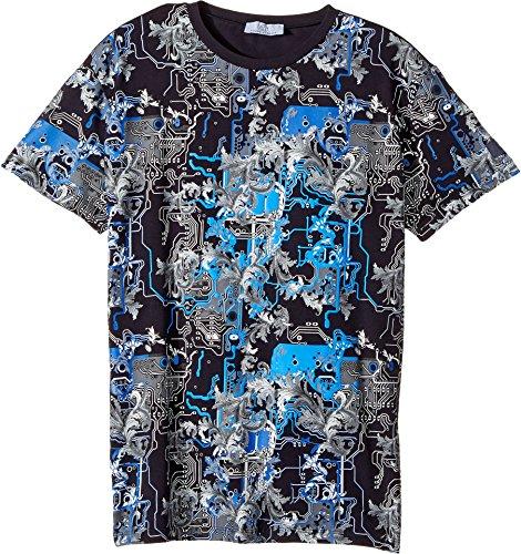 Versace Kids  Boy's Short Sleeve Barocco Circuit Graphic T-Shirt (Big Kids) Blue/Multi 11 - - For Versace Kids