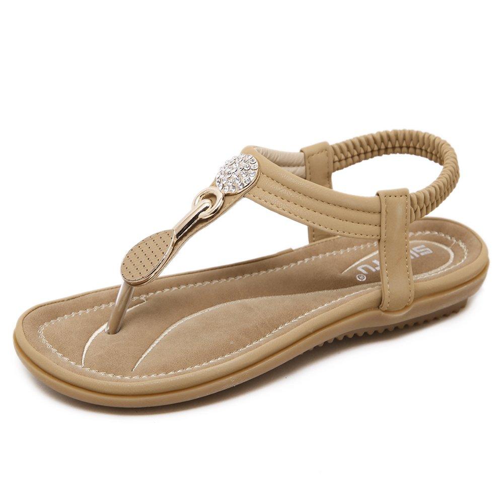 SANMIO Damen Sandalen, Frauen Sandals Bohemian Strass Flach Sandaletten Sommer PU Leder Zehentrenner  39 EU|Beige-b