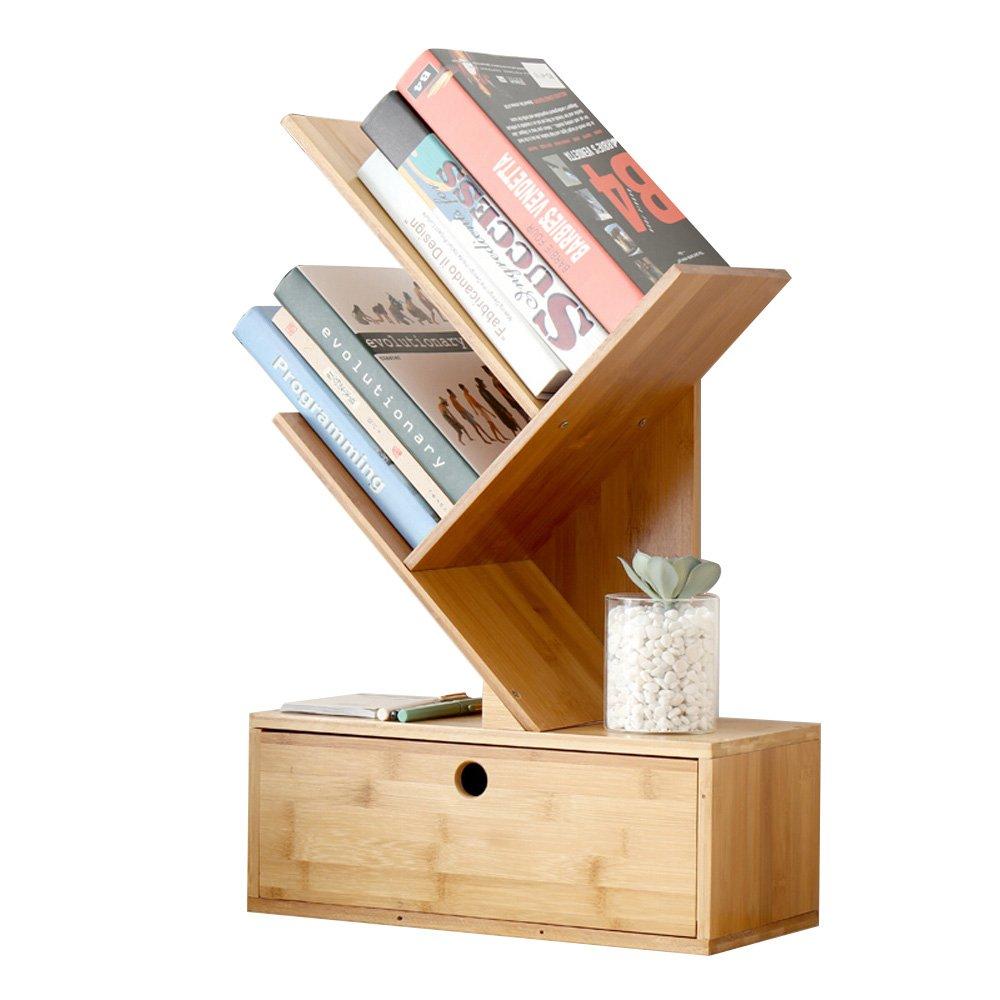 FLY® 本棚デスクトップツリーシェイプマガジンラック - 1引き出しベッドルーム竹製の木製収納スタンド - サイズ40 * 18.5 * 62cm (色 : 2#)  2# B07KF1TKLX