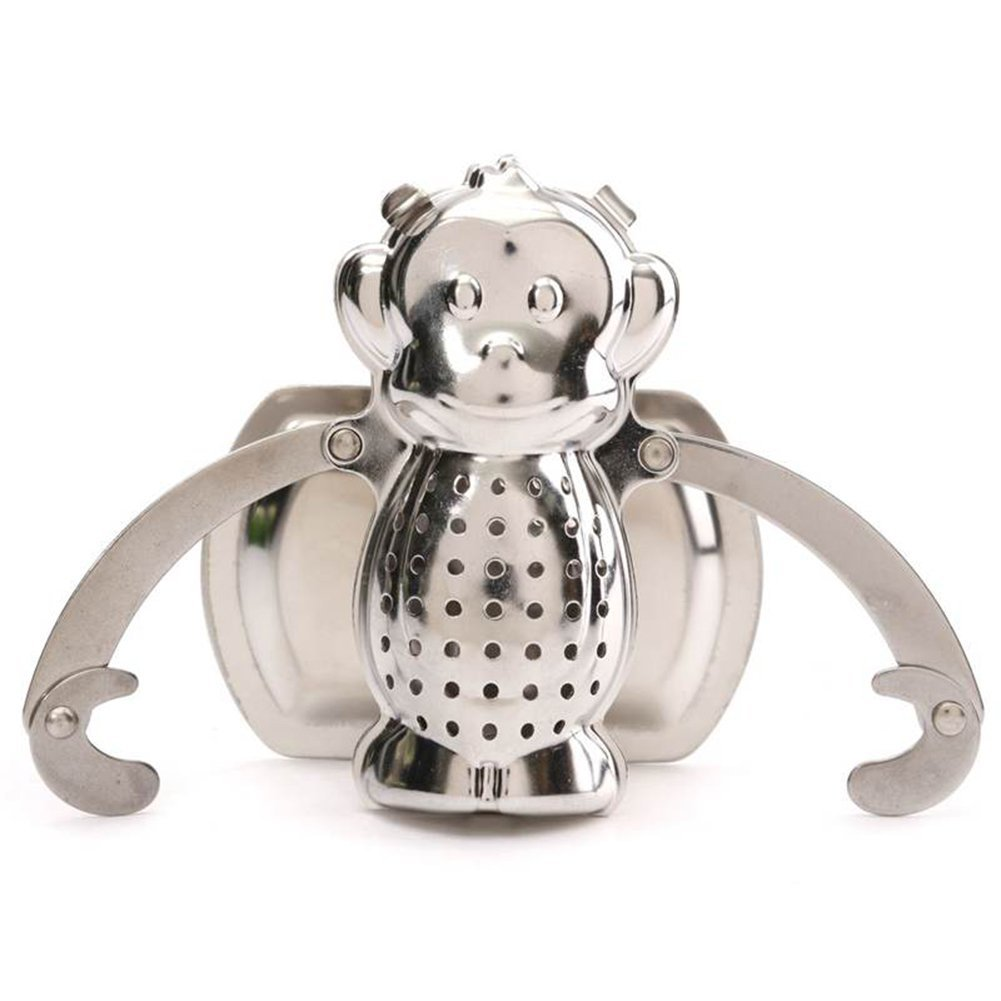 EXIU Stainless Steel Cute Monkey Herbal Loose Tea Infusers Leaf Filter Diffuser