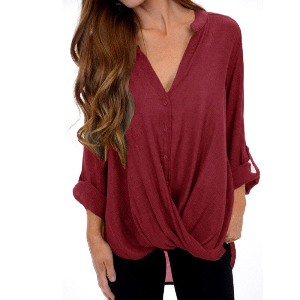 Damen Bluse Einfarbig V-Ausschnitt Tops Loose mit Langarm Hemd MYMYG Oberteile Elegant Lose Pullover Top Shirts MYMYG-39048WOMEN