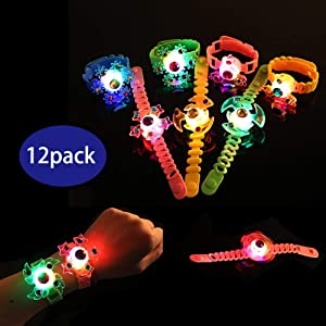 Glory Island Party Favors for Kids,12 Pack Spin Glow Bracelets Toys, Light Up Toys Glow in The Dark, Spin Stress Relief Anxiety Toys, Boys and Girls LED Neon Flashing Party Supplies