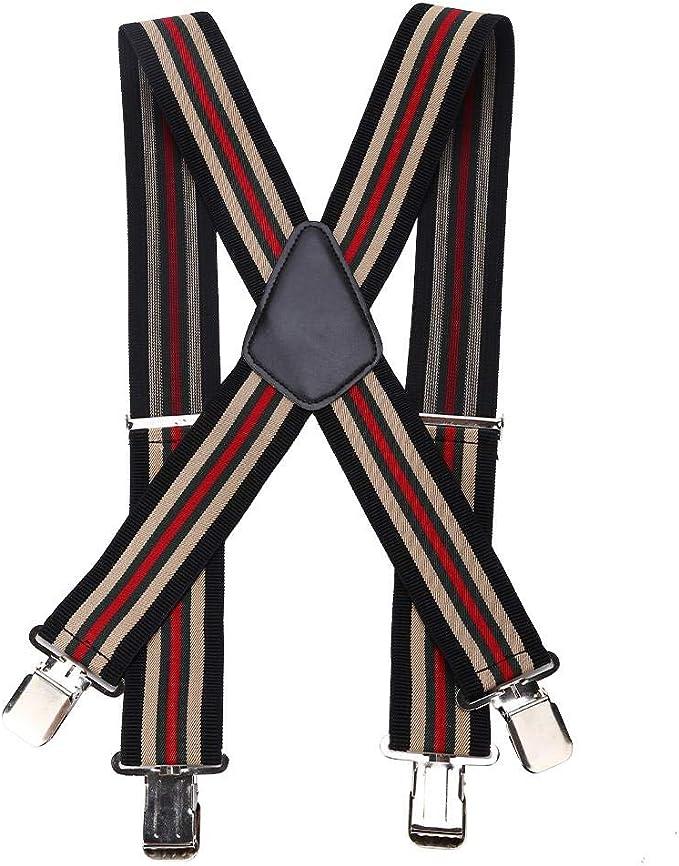 Men's Vintage Style Suspenders Braces GOTOTOP 50mm X Shape Striped Adjustable and Elastic Wide Suspenders Gentles Plain Heavy Duty Mens Brace Cross Strap with Metal Clips £10.09 AT vintagedancer.com