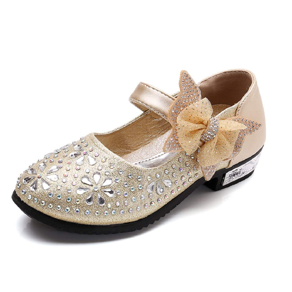Toddler Kids Girls Princess Mary Jane Heeled Shoes Sparkle Party Dress Shoes Low Heel with Butterfly by Lowprofile