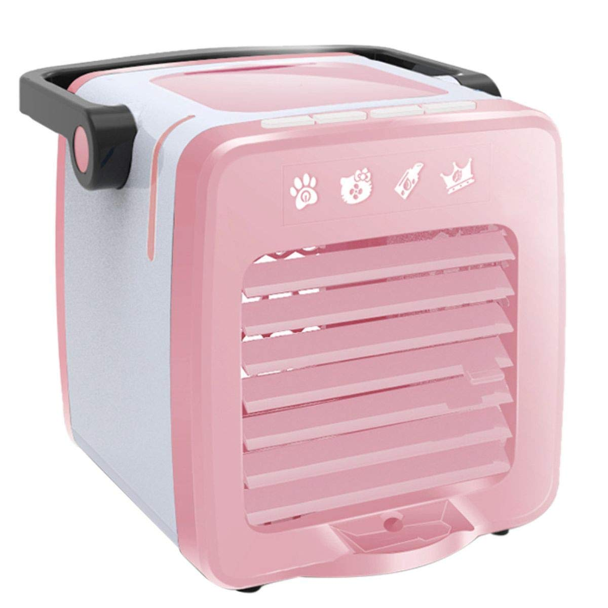 Portable Air Conditioner Fan, Personal Space Air Cooler Desk Fan Mini Evaporative Cooler Purifier Table Fan USB Rechargeable Fan with Handle and Night Light for Home Room Office Dorm (Pink , Free )