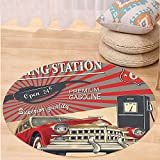 VROSELV Custom carpetCars Decor Poster Style Gasoline Station Commercial With Kitschy Elements Route 66 Theme Graphic for Bedroom Living Room Dorm Vermilion and Beige Round 79 inches