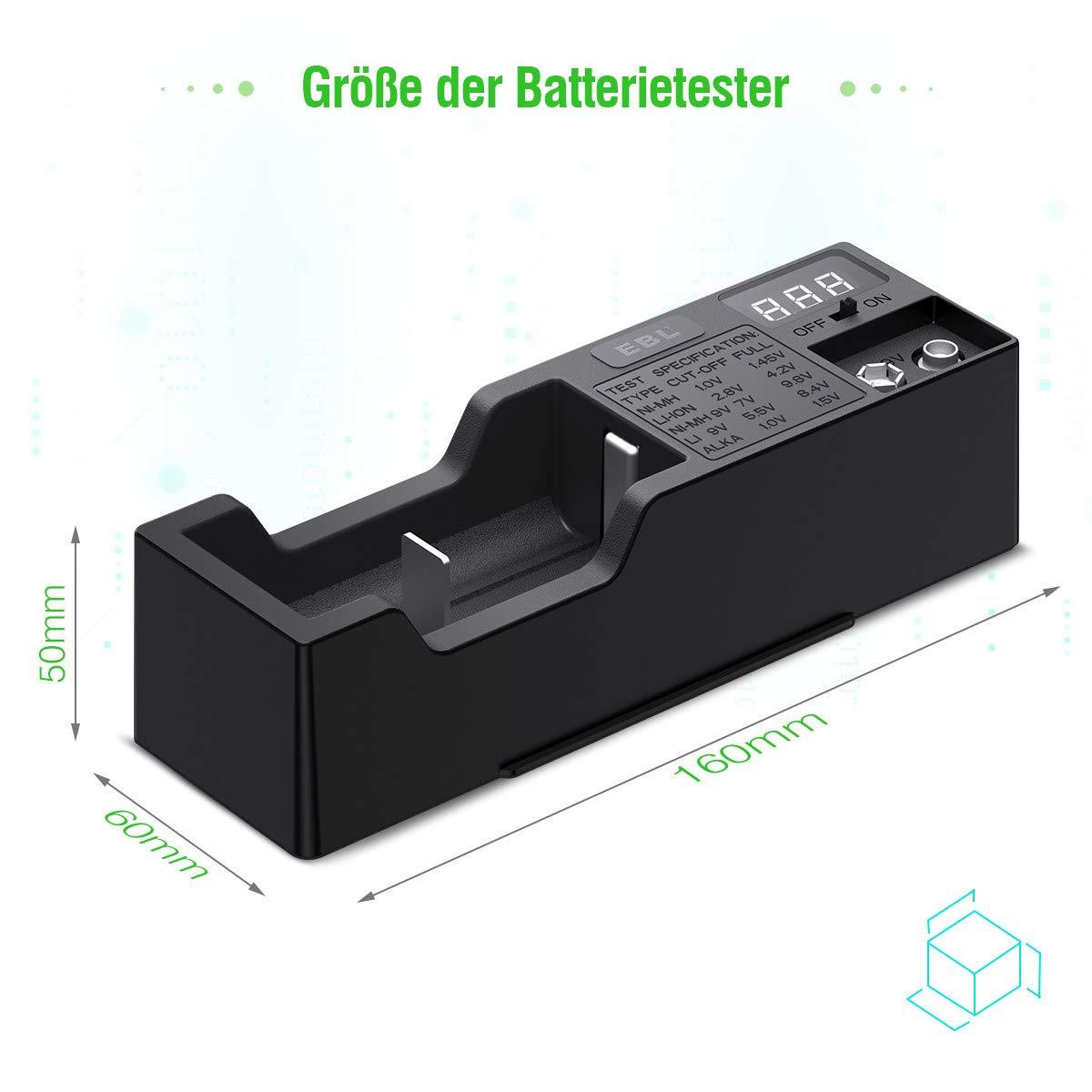 EBL Batterien Tester Universal Batterieprüfergerät für AA AAA NI-MH C D LI-ION 18650 14500 18500 10440 NI-MH 9V LI 9V Batterie testgerät mit LCD-Anzeige Akku Testgerät für Spannung