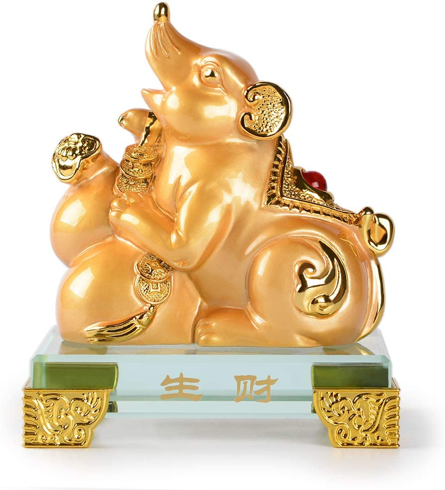 PopTop Brass Golden Resin Feng Shui Statue Chinese Zodiac Animal Mouse/Rat Home Office Table Top Decor Figurine Gift Collection PTZY112FBA