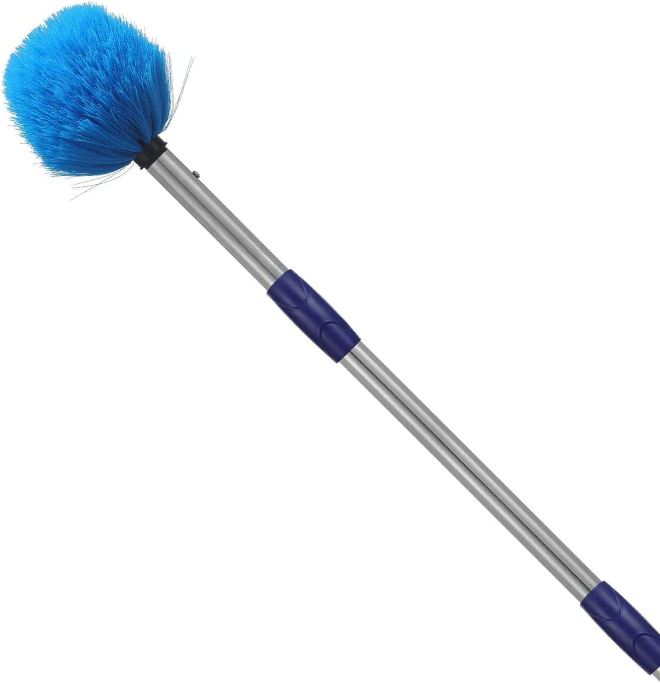 Cobweb Duster with Pole, 8ft Stainless Steel Pole Cobweb Brush with Medium-Stiff Bristles for Walls Beams Shelves Iight Fixtures and Window Screens
