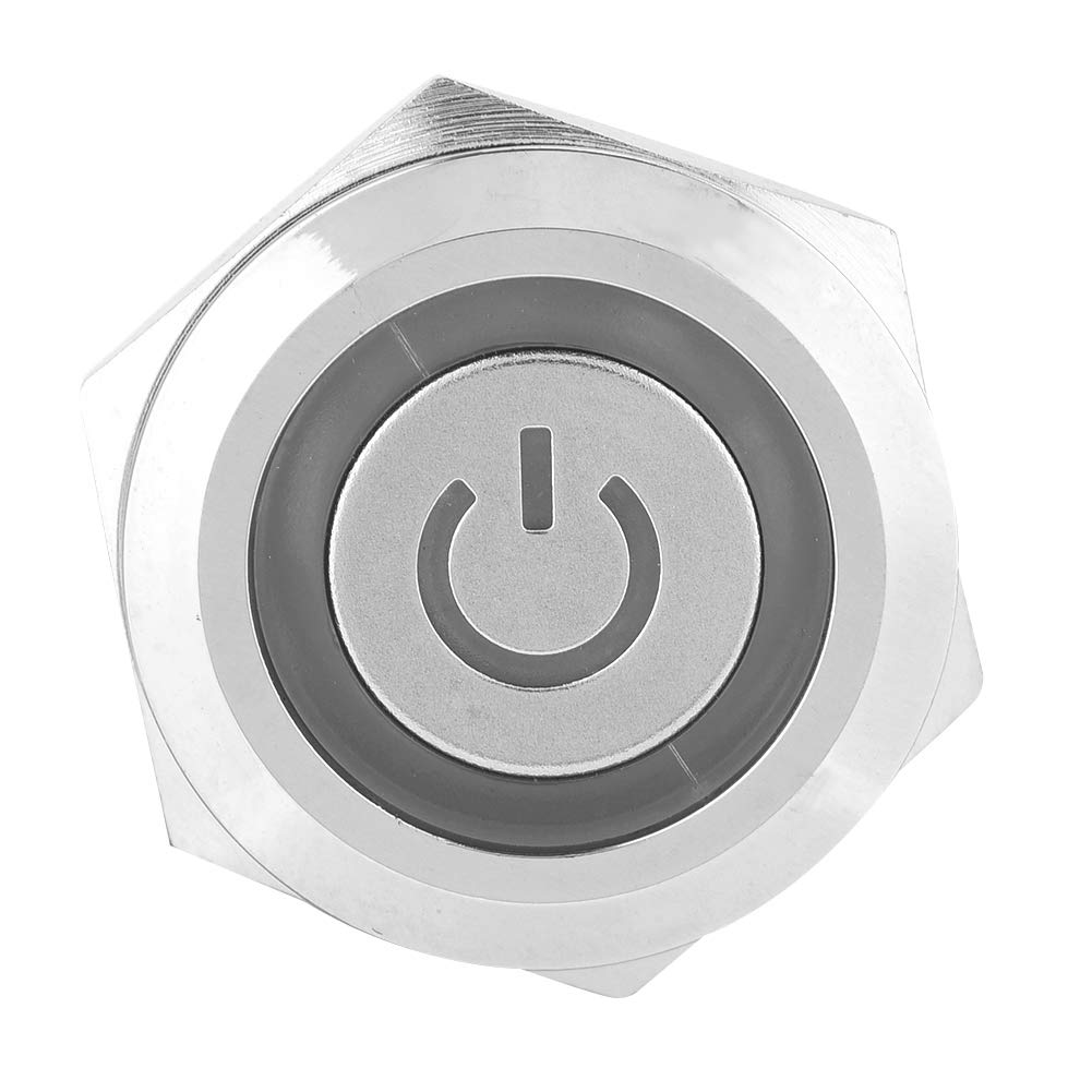 19mm Self-locking Button Switch,40pcs 24V Metal Push Button Switch,5-Pin LED Light Waterproof Button Switch red