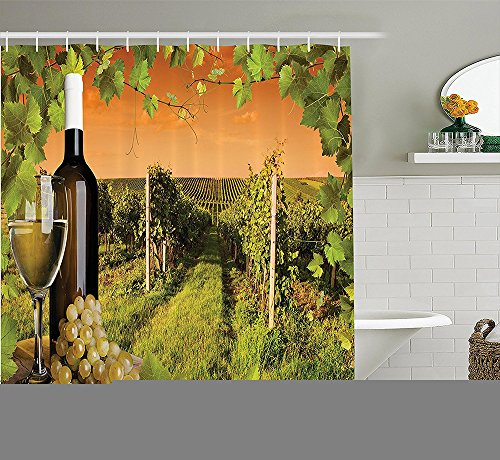Winery Decor Collection Bottle and Glass of Wine and the Vineyards of Sunset Countryside Romantic Evening View Polyester Fabric Bathroom Shower Curtain Set with Hooks Green Orange (Snap Dragon Wine compare prices)
