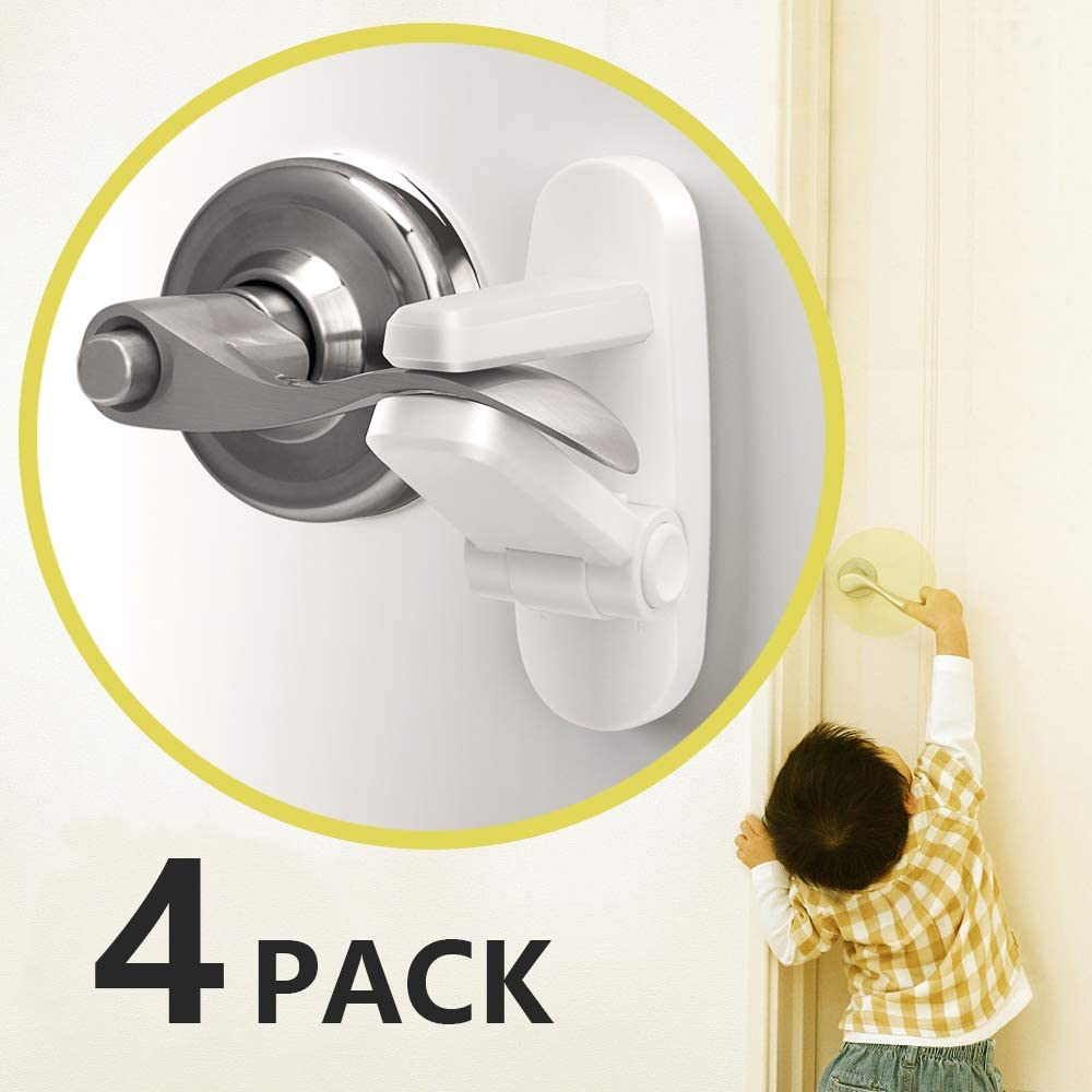 Baby Proofing Childproofing Door Lever Lock [4 Pack] - Outsmart Child Proof Lock for Kids, 3M Adhesive Child Safety Door Handle Lock, Anti Lock-Out Design Door Lock for Bathroom/Bedroom/French Door