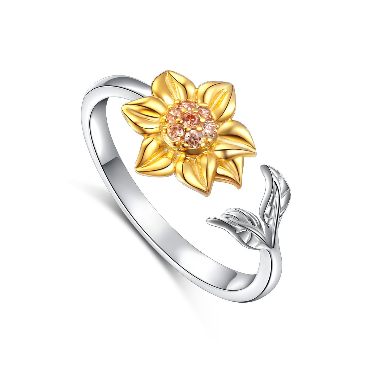 S925 Sterling Silver Sunflower with CZ Ring Adjustable Size 5 6 7 8 9