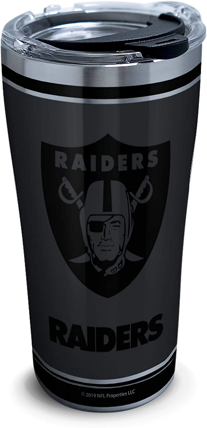 Tervis NFL 100-Oakland Raiders Stainless Steel Insulated Tumbler with Clear and Black Hammer Lid, 20 oz