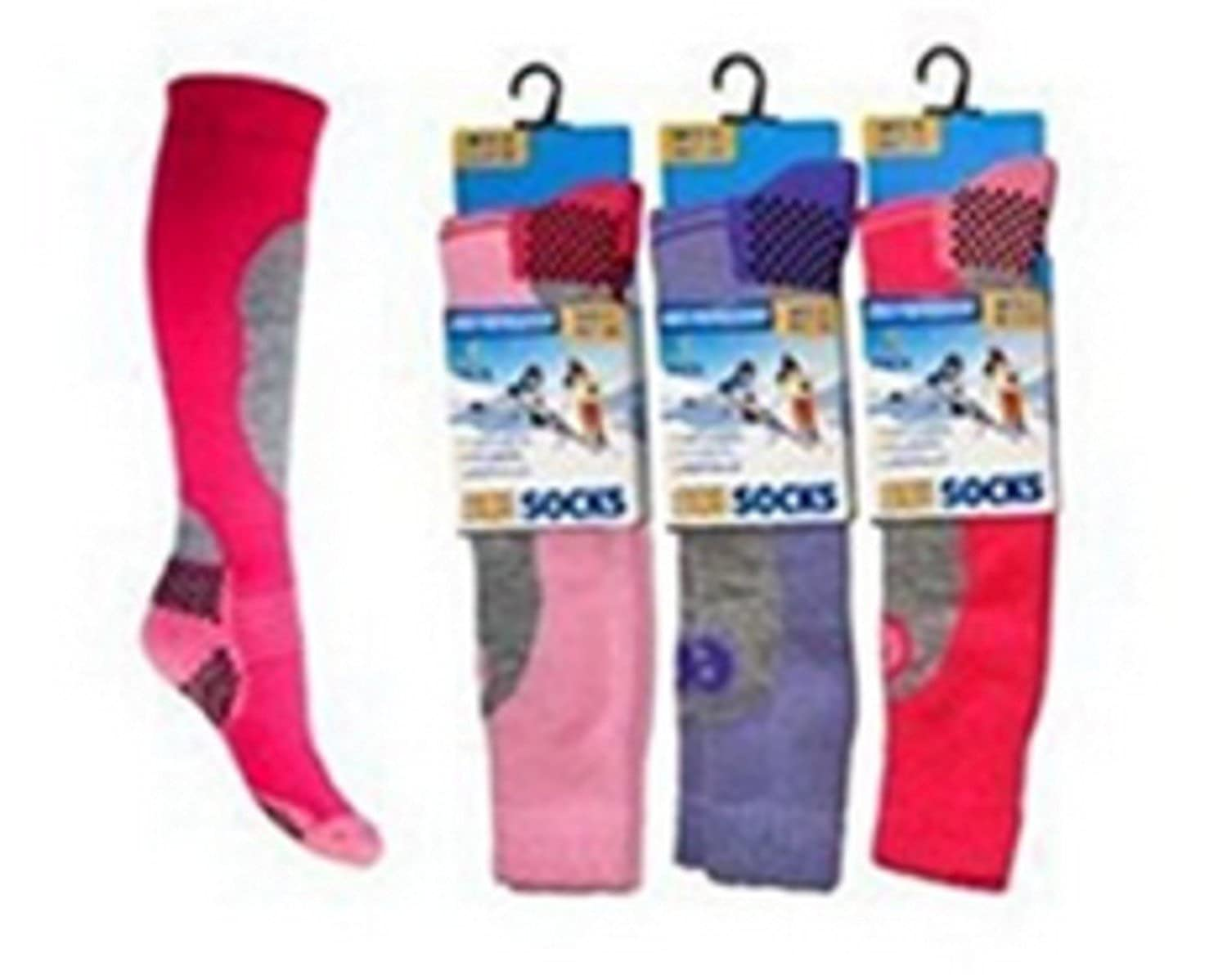 3 Pack Childrens/Girls High Performance Ski Socks With Extra Cushioning, Shin Protection, Assorted Colours, UK: 12.5-3.5, EUR: 31-34 OF-L2NW-L4I3