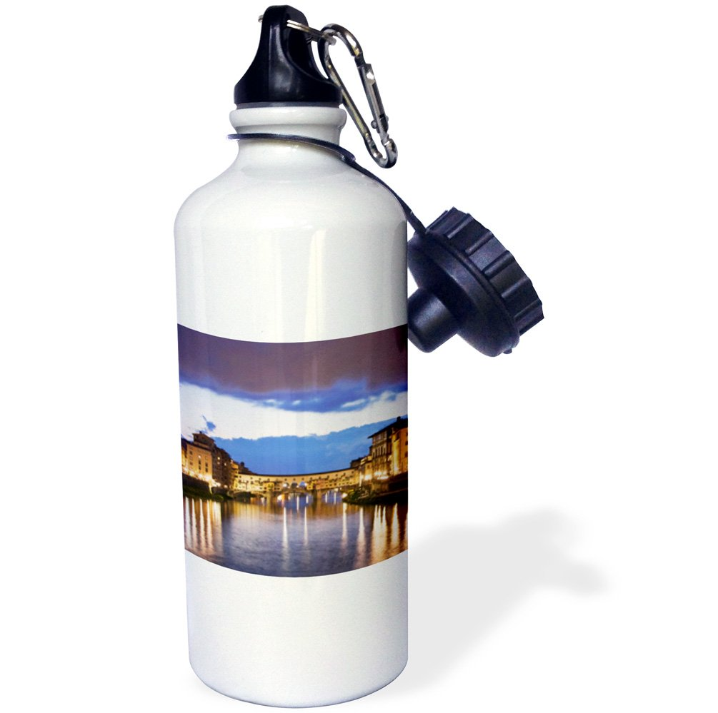 3dRose wb_82068_1 Italy, Florence, Arno River, Ponte Vecchio Bridge-Eu16 Bja0483-Jaynes Gallery Sports Water Bottle, 21 oz, White