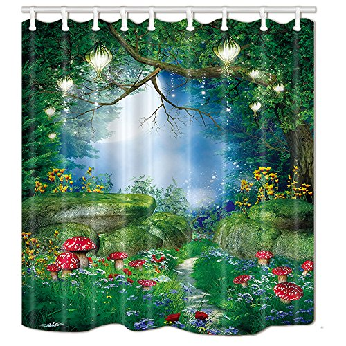 NYMB Natural Theme Mushrooms Grass Stone Flowers in Fantasy Forest Bath Curtain 69X70 inches Polyester Fabric Magic Wooden Tree with Plant Shower Curtains Fantastic - Mushroom Curtain