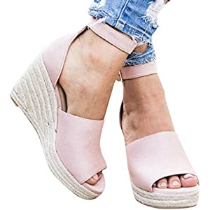 11bc2f87325 Wedges Shoes for Women Espadrilles High Heels Ankle Strap Open Peep Toe  Summer Sandals