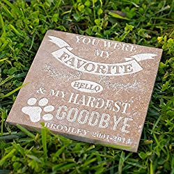 Personalized Memorial Pet Headstone Customized - Favorite Helo Hardest Goodbye - 6 x 6 Noce Honed & Filled