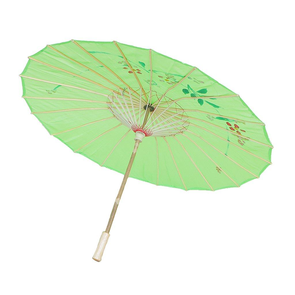 MagiDeal Chinesischen Regenschirm - Asiatischen Sonnenschirm - Tanz Schirm - Tanzen Requisiten - Handgemacht - aus Stoff - Grün STK0156016942