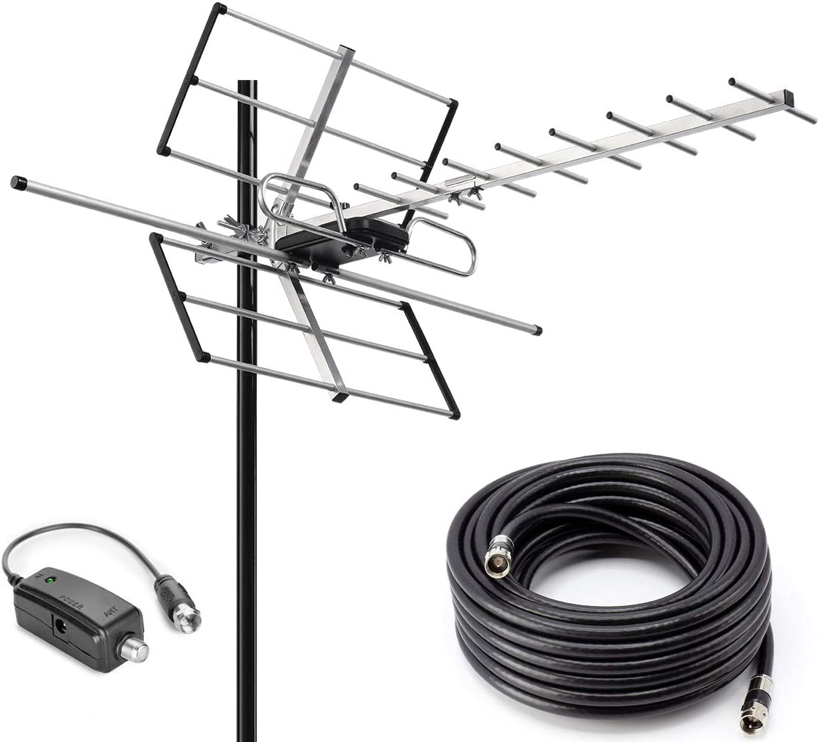 PBD Outdoor Digital Amplified Yagi HDTV Antenna, Built-in High Gain and Low Noise Amplifier