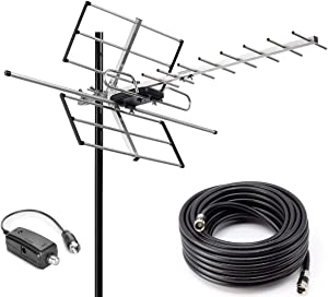 PBD Outdoor Digital Amplified Yagi HDTV Antenna, Built-in High Gain and Low Noise Amplifier, 40FT RG6 Coaxial Cable, 120 Miles Range with UHF and VHF Signal