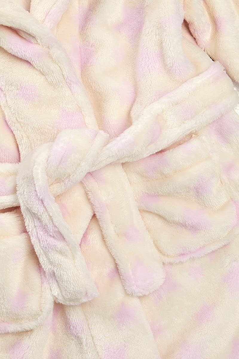Hooded Fleece Gown in Pink /& Cream Ages 6-24 Months Babytown Toddler Baby Girls Star Print Night Robe