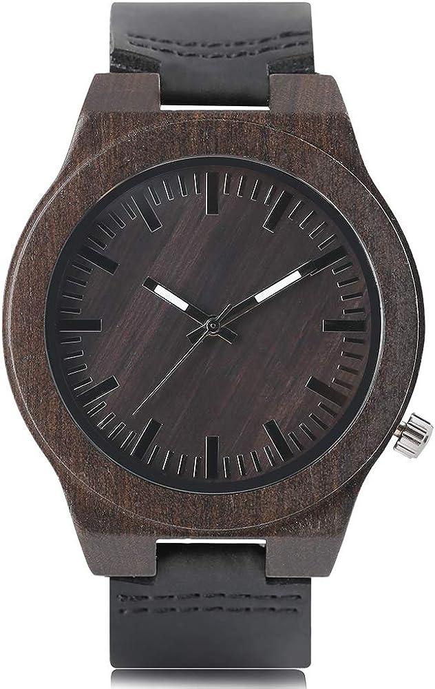 Ebony Wood Watch, Men with Black Sandalwood Band Quartz Analog Wooden Wristwatch, Bamboo Wristwatch Bracelet