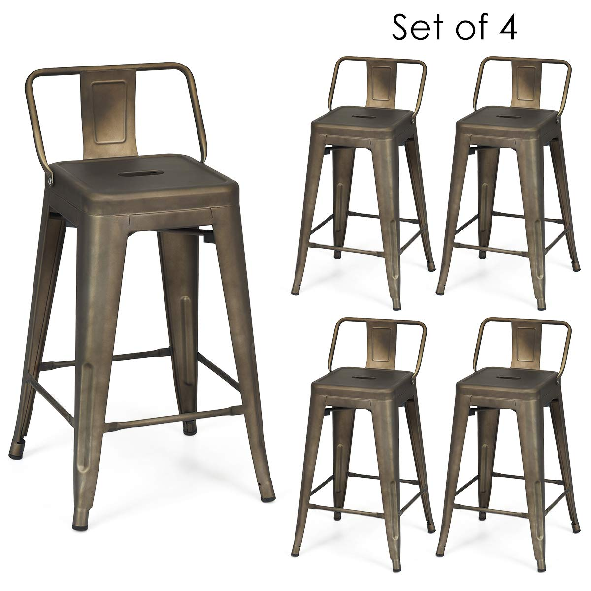 COSTWAY Metal Bar stools Set of 4, with Removable Back, Cafe Side Chairs with Rubber Feet, Stylish and Modern Chairs, for Kitchen, Dining Rooms, and Side Bar (Gun, 24'') by COSTWAY