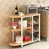 #6: Magshion Kitchen Island Dining Baker Cabinet Basket Storage Shelves Organizer Wood (White)