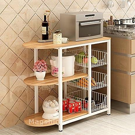 Magshion Kitchen Island Dining Baker Cabinet Basket Storage Shelves  Organizer Wood (White)