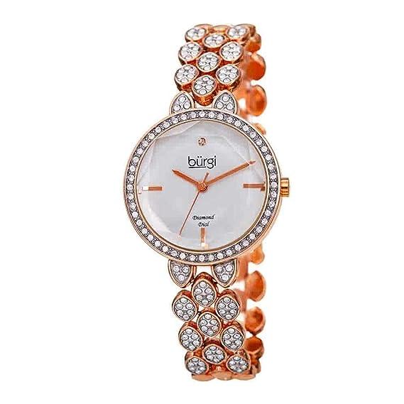 BurgiBUR232 - Reloj de Pulsera para Mujer, con Cristales Swarovski, Carcasa y Correa con Marcador de Diamantes, Esfera Brillante de Acero Inoxidable: ...