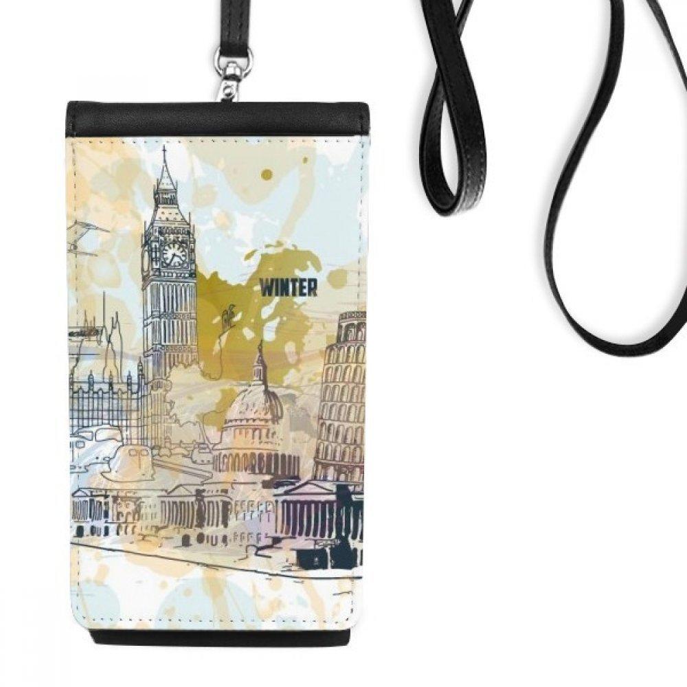 World Travel Landmark Big Ben Leaning Tower of Pisa Faux Leather Smartphone Hanging Purse Black Phone Wallet Gift