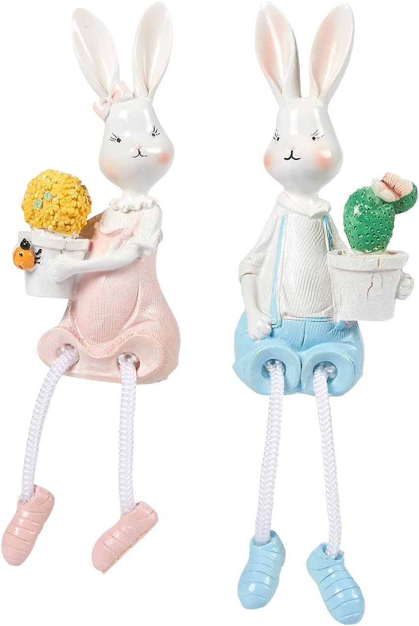Juvale Bunnies - Set of 2 Bunny Resin Figurines, Home and Garden Ornaments, Bunny Couple Shelf Sitters, Rabbit Decorations, 2.7 x 5.7 x 2.1 Inches