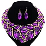 African Beads Jewelry Sets Women Bridal Crystal Statement Necklace Earring Jewelry Sets (Purple)