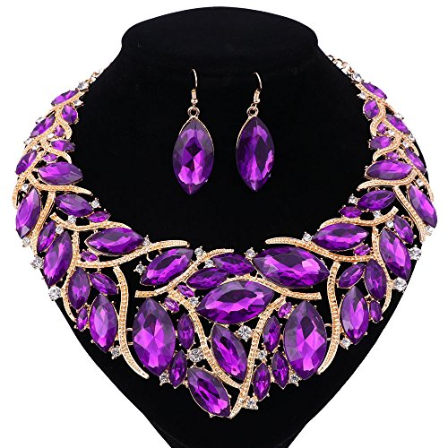 African Beads Jewelry Sets Women Bridal Crystal Statement Necklace Earring Jewelry Sets (Purple) by WANG