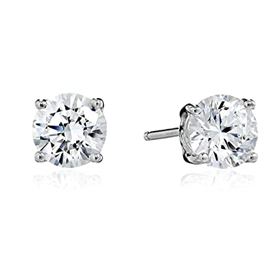 bf868f9bc82c6 Surgical Stainless Steel Studs Earrings Men Women Round Basket Setting  Cubic Zirconia Hypoallergenic Earrings